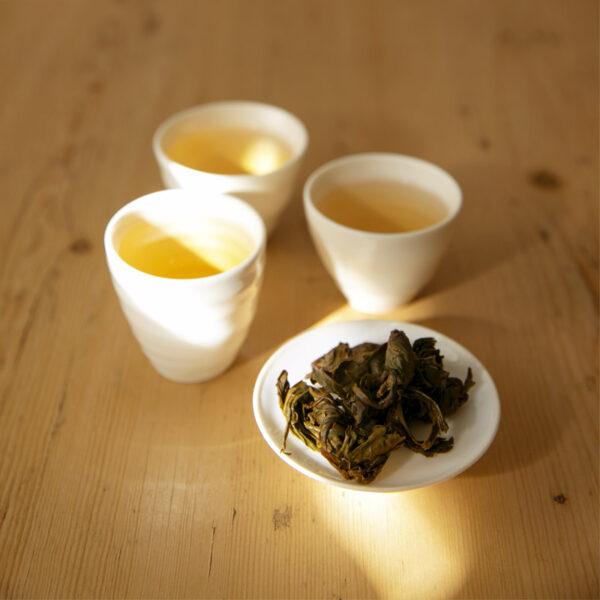 Zomba perler, våte blader og trukket te